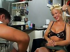 Taylor Morgan goes to the angel salon to get her legs hairless and her hair done. After she is pampered her hair dresser goes down on her and licks th