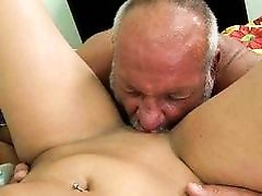 Teen enjoying sex with ugly grandpa