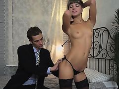 Attractive gal in nylons goes hardcore