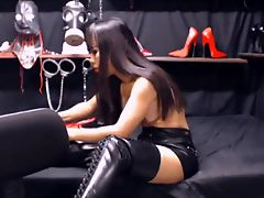 Whore in leather skirt fucks in the ass