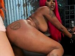 black babe goes to town on a lady cock