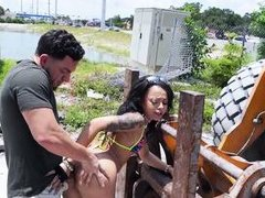 naughty lady gets fucked in the outdoors